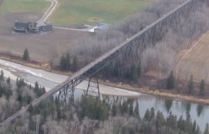 Alberta Central Railway Mintlaw steel trestle aerial
