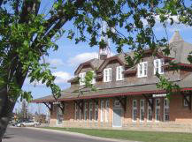 rail side of restored Red Deer CPR station downtown