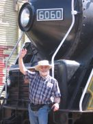 Paul with train locomotive